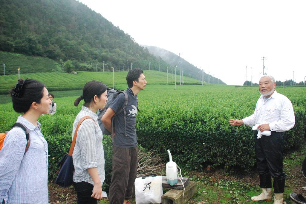 北さんからお茶の生産について説明を聞きます。